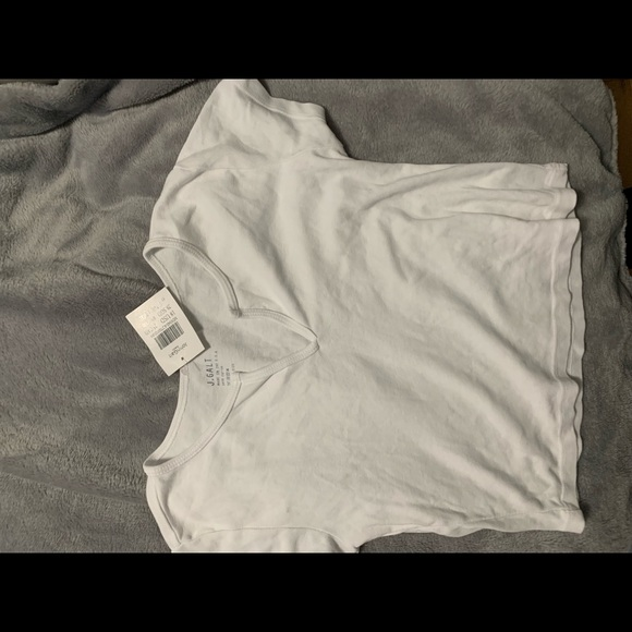 New brandy melville white v-notch crop cotton Maggie top NWT XS//S